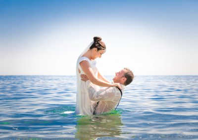 Bride & Groom in the sea