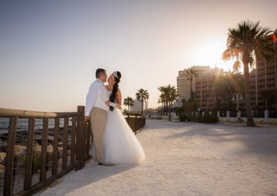 Bride and Groom at Sunset Promenade