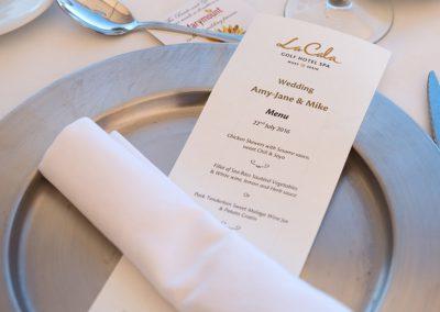 Included Wedding Menus at La Cala