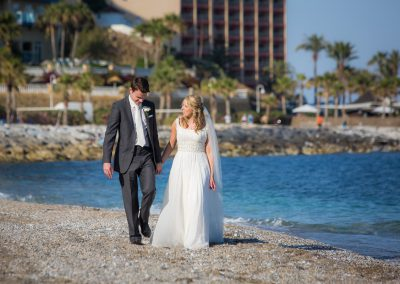 Bride and Groom on Beach in Benalmadena