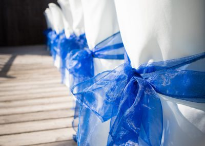 Chair Covers with Blue Ribbons