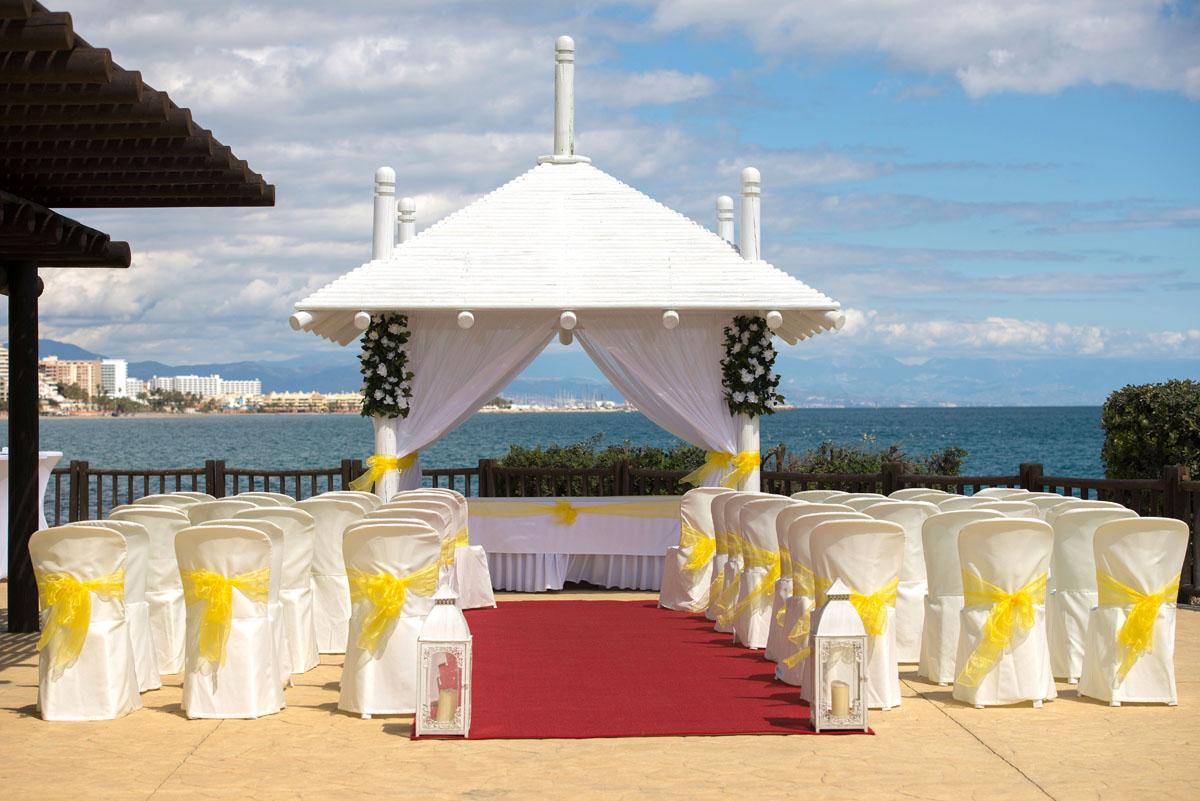 Sunset beach hotel wedding
