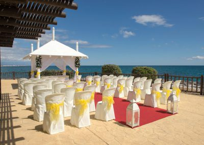 Yellow Wedding Ceremony Set up by the Sea