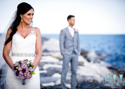 Bride and groom on rocks