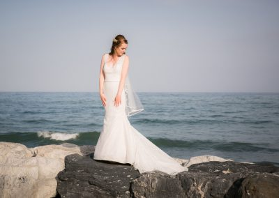Bride on rocks