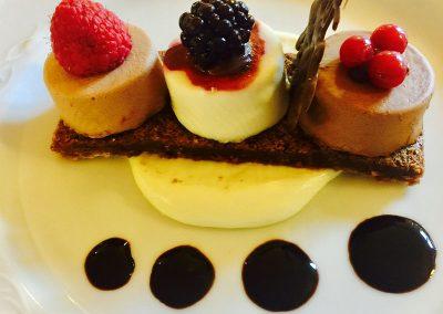 Trio of chocolate desserts
