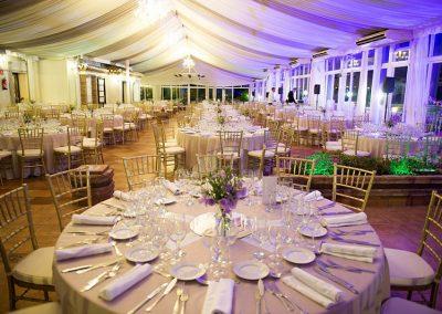 Wedding reception set up at Finca Dulzura