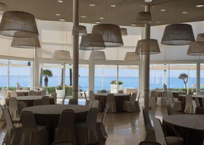 Wedding reception with sea views