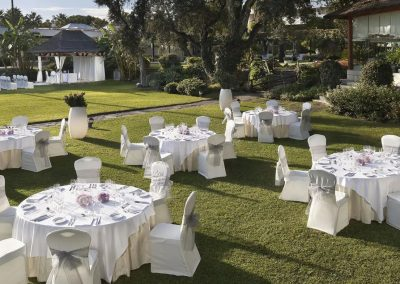 Outdoor wedding on grass terrace