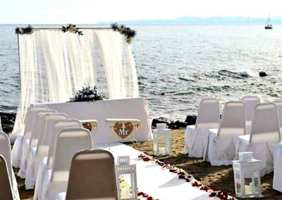 Blessing ceremony set up on the beach